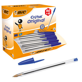 Dispenser value pack 90+10 penna sfera CRISTAL® medio 1,0mm blu BIC®